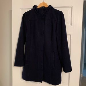 Tommy Hilfiger Navy Blue Hooded Peacoat - Size M